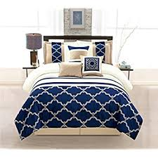 Amazon WPM 7 Pieces plete Bedding Ensemble Navy Blue Taupe