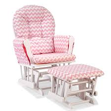 storkcraft hoop custom glider and ottoman in white and pink