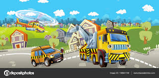 Cartoon Tow Truck, Pilot Car And Helicopter — Stock Photo ...