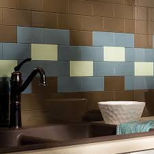 aspect peel and stick backsplash tiles in glass stone and metal