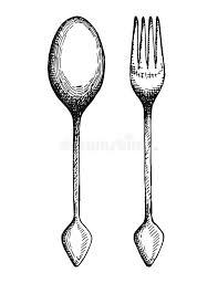 Download Vintage Fork And Spoon Vector Cutlery Hand Drawing Illustration Stock Vector Illustration