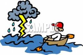 A Kid In Rowboat Rowing Toward Lightning Storm Clipart Picture