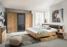 lifestyle4living schlafzimmer komplett set in eiche dekor und grau 2 teilig modernes komplettset mit schwebetürenschrank und bett inkl