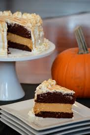 Pumpkin Layer Cheesecake by Pumpkin Cheesecake Layered With Chocolate Ginger Cake Topped With