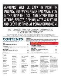 VANGUARD WILL BE BACK IN PRINT JANUARY BUT WERE NEVER FAR AWAY STAY THE LOOP ON LOCAL AND INTERNATIONAL AFFAIRS SPORTS OPINION ARTS CULTURE