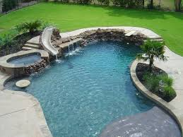 In Ground Pool With Diving Board Slide And Hot Tub
