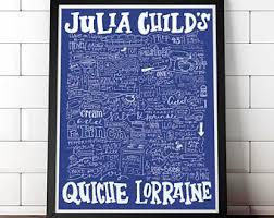 Julia Childs Quiche Lorraine Recipe Art Print Hand Drawn Lettered