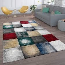 teppich kurzflor teppich für wohnzimmer modernes karo muster in bunt