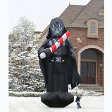 Halloween Blow Up Yard Decorations Canada by The 16 Foot Inflatable Christmas Darth Vader Hammacher Schlemmer