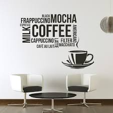 Coffee Types Food Quotes Slogans Wall Stickers Kitchen Decor Art Decals