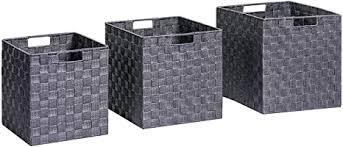 songmics aufbewahrungsboxen geflochten 3er set aufbewahrungskörbe mit eisengestell und griffen würfel für spielzeug und kleidung kleiderschrank