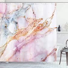 ambsunny pink marmor duschvorhang pink granit stein oberfläche risse linien goldene streifen badezimmer dekor set mit 12 haken 152 4 x 180 9 cm bunt