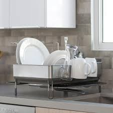 Simplehuman Sink Caddy Canada by Simplehuman Steel Frame Dishrack With Wine Glass Holder And Bamboo