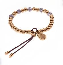 women s rose gold tone plated beaded fireball leather stretch