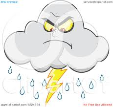 Clipart Of An Angry Lightning Storm Cloud Mascot