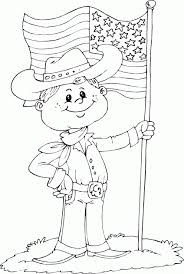 Cowboy With USA Flag Coloring Page