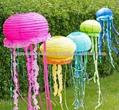 YIWU New DIY Jellyfish Lanterns Paper Tassels Party Decorations Idea Round Lantern Wedding