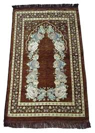 Muslim Prayer Rug Floral Design Lightweight Luxery Islamic Carpet Sajjadah Dark Brown