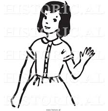 Clipart of a Girl Waving Hello with Smile Black and White Drawing