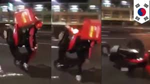 Stoppie Bike Trick Fail Pizza Hut Delivery Guy Attempts