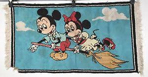 Vintage Mickey Mouse Rug Mickey and Minnie on a Broom Walt