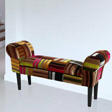 patchwork sitz bank textil möbel holz retro design gemustert