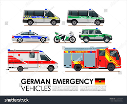 German Emergency Cars Vehicles Transport Vector Stock Vector ...