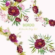 Burgundy Flower Background Clipart