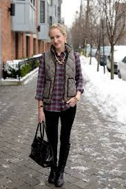 weekend uniform flannel shirts comfy leggings and puffer vests