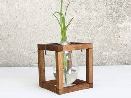 Plant Vase Small Glass Bud Wood Stand