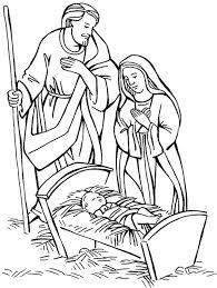 Nativity Jesus Born Scene Coloring Page