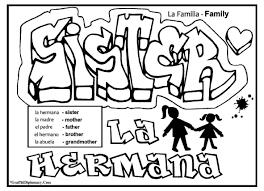English Spanish Free Printable Graffiti Coloring Page Family