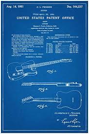 amazon com fender electric guitar patent new famous invention