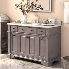 Grey Single Rustic Bathroom Vanities With Rectangle Built In And Drawers Under Framed Mirror