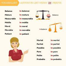 Antonym List Using MIS DIS UN IM IN Prefixes Vocabulary