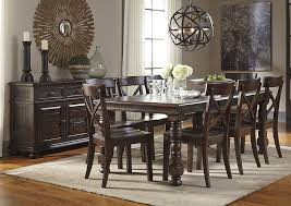Gerlane Dark Brown Rectangular Dining Room Extension Table W Server And 8 Side Chairs