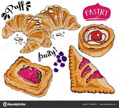 Puff Pastry Desserts — Stock Vector