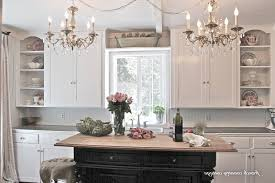 French Country Cottage Kitchen Black Metal Round Knobs Handle Attractive Tropical Brown Countertop White Table Nice Gray Accent Walls Color Schemes