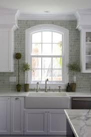 impressive creative gray brick backsplash white kitchen cabinets