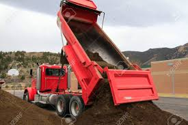 100 Red Dump Truck Big S Pile Of Dirt Stock Photo Picture And