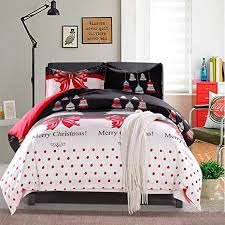 LAMEJOR Duvet Cover Sets Queen Size Christmas Series Tree And Bells Pattern Bedding Set Comforter