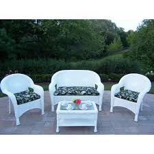 White 4-Piece Wicker Patio Conversation Set With Black Floral ... Red Barrel Studio Dierdre Outdoor Wicker Swivel Club Patio Chair Cosco Malmo 4piece Brown Resin Cversation Set With Crosley Fniture St Augustine 3 Piece Seating Hampton Bay Amusing Chairs Cushions Pcs Pe Rattan Cushion Table Garden Steel Outdoor Seat Cushions For Your Riviera 4 Piece Matt4 Jaetees Spring Haven Allweather Amazoncom Festnight Ding Of 2