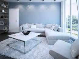 moderne wohnzimmer mit blauen wänden 3d übertragen