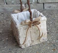 Square Rustic Birch Flower Girl Basket by justanns on Etsy $30 00