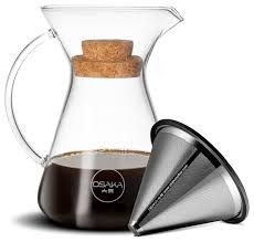Kiyomizu Dera Pour Over Coffee Brewer With Stainless Steel Cone Filter 20 Oz
