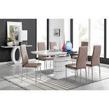 essgruppe townley mit ausziehbarem tisch und 8 stühlen metro farbe stühle cappuccinobeige