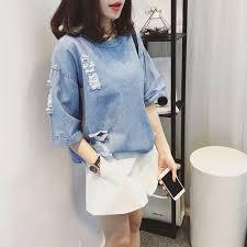 Blusa Real Tumblr 2017 Summer New Women Korean Loose Personality Cowboy T Shirt Female Short
