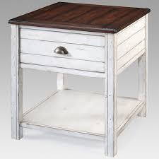 Magnussen Bellhaven Rectangle End Table Casual In A Rustic Style With Large Drawer For Ample Storage Painted Alabaster Finish And Brass
