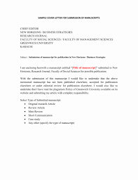 Article Submission Cover Letters Inspirational Sample Letter For The Of Manuscript