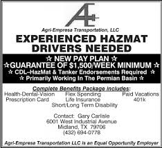 Experienced Hazmat Drivers Needed, Agri-Emplresa Transportation LLC